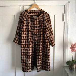 Michael Kors Brown Houndstooth Button Front Coat L